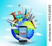 travel ticket online the world... | Shutterstock .eps vector #492318085