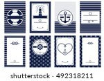 nautical wedding invitation... | Shutterstock .eps vector #492318211