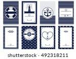 nautical wedding invitation... | Shutterstock .eps vector #492318211