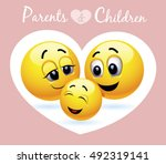 smiley family. vector... | Shutterstock .eps vector #492319141