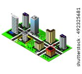 isometric city. map includes... | Shutterstock .eps vector #492325681