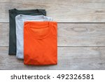 top view of color t shirt on... | Shutterstock . vector #492326581