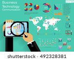 tablet technology business... | Shutterstock .eps vector #492328381