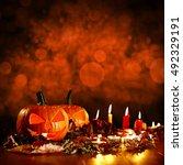 orange colors of pumpkin on... | Shutterstock . vector #492329191