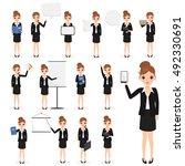 business woman character in job ... | Shutterstock .eps vector #492330691