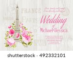 eiffel tower icon with spring... | Shutterstock .eps vector #492332101