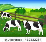 vector illustration. cows are... | Shutterstock .eps vector #492332254