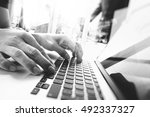 business documents on office... | Shutterstock . vector #492337327