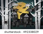 happy halloween greeting card... | Shutterstock .eps vector #492338029
