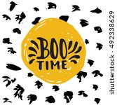 boo time   halloween party hand ... | Shutterstock .eps vector #492338629