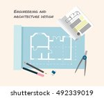 technical drawing .engineering... | Shutterstock .eps vector #492339019