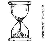 sand clock in doodle sketch... | Shutterstock .eps vector #492340645