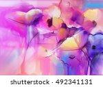 abstract tulip flowers... | Shutterstock . vector #492341131