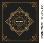 whiskey label with old frames | Shutterstock .eps vector #492342154
