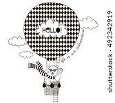 bear flying in air balloon ... | Shutterstock .eps vector #492342919