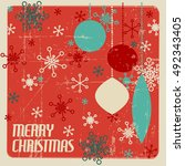 retro christmas card with... | Shutterstock .eps vector #492343405