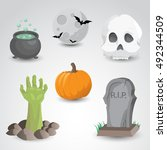 halloween icon set isolated on... | Shutterstock . vector #492344509