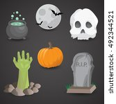 Halloween Icon Set Isolated On...