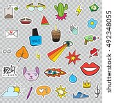 set of patches elements like... | Shutterstock .eps vector #492348055