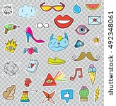 set of patches elements like... | Shutterstock .eps vector #492348061