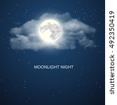 Night Sky Background With Full...