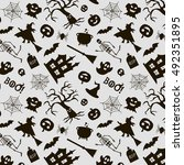 halloween seamless pattern in... | Shutterstock .eps vector #492351895