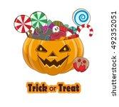trick or treat pumpkin full of...   Shutterstock .eps vector #492352051
