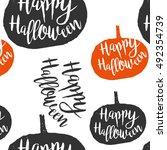 happy halloween seamless... | Shutterstock .eps vector #492354739