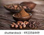 cacao beans and powder and food ... | Shutterstock . vector #492356449