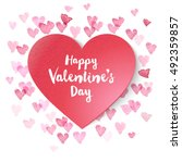 paper valentines heart on... | Shutterstock .eps vector #492359857