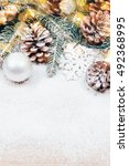 snowy christmas background with ... | Shutterstock . vector #492368995