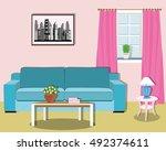 colorful modern living room... | Shutterstock .eps vector #492374611