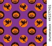 vector circles halloween... | Shutterstock .eps vector #492377431