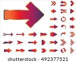 arrow vector 3d button icon set ...   Shutterstock .eps vector #492377521