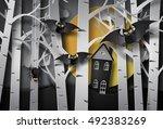 happy halloween greeting card... | Shutterstock .eps vector #492383269