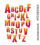 bright geometric alphabet ... | Shutterstock .eps vector #492385465