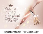 grand opening beige invitation... | Shutterstock .eps vector #492386239