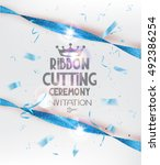 ribbon cutting ceremony... | Shutterstock .eps vector #492386254