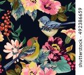 seamless pattern of flower ... | Shutterstock .eps vector #492386659