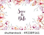 invitation card with watercolor ... | Shutterstock . vector #492389161
