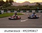 kart track. sunset | Shutterstock . vector #492390817