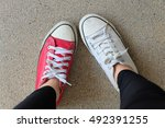 funny different sneakers  red... | Shutterstock . vector #492391255