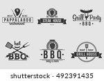 bbq logos white and black | Shutterstock .eps vector #492391435