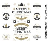 christmas labels and badges... | Shutterstock .eps vector #492396325