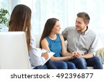 happy couple listening to a... | Shutterstock . vector #492396877