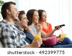 side view of a happy group of... | Shutterstock . vector #492399775