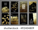 Set Of Black And Gold Design...
