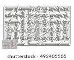 large vector horizontal maze... | Shutterstock .eps vector #492405505