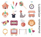 circus set icons in cartoon... | Shutterstock .eps vector #492405571
