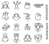 stress icons set  line style.... | Shutterstock .eps vector #492410359